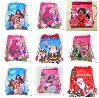 Wholesale Woven Backpack Wholesale - Christmas Drawstring Bags Moana Trolls Backpacks Non Woven Kids Sling Bag School Bags Girls Party Gift Bag Birthday Free Shipping