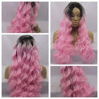 Wholesale Two Tone Cheap Lace Fronts - Cheap Wigs with Baby Hair kinky Curly Wigs Ombre Two Tone Black Pink Glueless Synthetic Lace Front Wigs For Black Women Heat Resistant