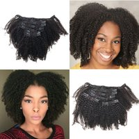 Wholesale Indian Remy Hair Clip Ins - 120g 4c Afro Kinky Curly Remy Hair Clip in Extensions Brazilian Human Hair Clip ins for African American FDSHINE