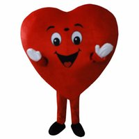 Wholesale Heart Costumes Adults - New Red Love Heart Mascot Costume Christmas Party Dress Adult Size Free Shipping