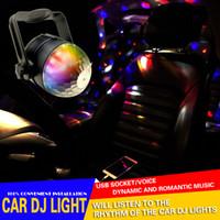 ingrosso luce rotante del partito principale mini-Car interior LED Music decorare Luci DJ Mini RGB 18w LED MP3 Club Disco Party Magic Ball Effetto di fase Lampadina rotante con interfaccia USB
