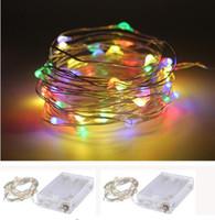 led con pilas rgb al por mayor-2017 venta llevó 2 M 3 M 4 M 5 M LED de alambre de cobre cadena luces de hadas AA con pilas Navidad fiesta de bodas de Navidad decoración luces de hadas l