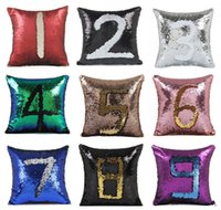 Hot 400pcs Sequin Mermaid Travesseiro Satin Pillowslip Double Color Sofa Sequins Almofada Almofada decorativa IB090