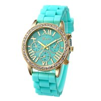 Wholesale Candy Shiping - 2016 New Geneva CZ Diamond Rhinestone crystal watch unisex silicone jelly candy Watchband Roman Numerals Dial Fashion watches free shiping