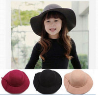 Wholesale Wide Brim Cloche Hat - Child hats Girls Sun Caps Vintage Wide Brim Wool Felt Bowler Fedora Hat Floppy Cloche Girl kid Sun Cap for 2-7 years