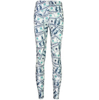 Wholesale Dollar Leggings - 100 Dollar skinny pants Bill printing leggings tight Money fitness wear Black milk Outdoor sportwear Sport gym clothing