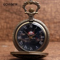 Wholesale Mens Locket Watch - Wholesale- Vintage Magic Game The WITCHER 3 WILD HUNT pocket watches Mens Locket Quartz Pocket fob Watches Necklace Chain Pendent Relogio