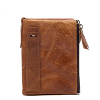 Wholesale Crazy Designer - Slymaoyi 2017 Genuine Crazy Horse Cowhide Leather Men Wallet Short Coin Purse Small Vintage Wallet Brand High Quality Designer