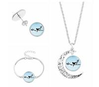 Wholesale Ear Stud Bird - Lovely Birds Necklace Bracelet Ear Studs set Hallow Moon Timestone Pendant Choker Wristband Earrings Jewelry Gift