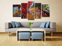 Wholesale Colourful Paintings - YIJIAHE Abstract Canvas Painting colourful forest Pictures Print On Canvas Large 5 Piece Wall Pictures For Living Room Bedroom Office H185