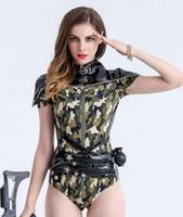 sexy vestidos de fiesta del ejército al por mayor-Nuevos trajes de disfraces femeninos discoteca bar DJ traje sexy trajes ejército verde marea fresca jumpsuit cantante bailarín show prom jazz DS