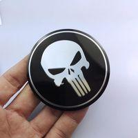 Wholesale center caps stickers - 56MM Aluminium Punisher Wheel Center Hub Cap Sticker Universal Fit Car Logo Accessory