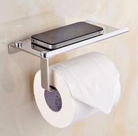 zeitgenössisches badezimmerzubehör großhandel-Neue Design 1 Stück Edelstahl 304 Rolle Papier Handyhalter mit Regal Handtuchhalter Toilettenpapier Boxen Badezimmer Zubehör