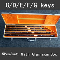 Wholesale nickel sets - Wholesale- High quality Bitter Bamboo Flute Professional Woodwind Musical Instruments Collect Chinese Dizi 5Pcs set C D E F G Key Flauta