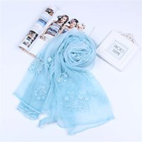 Wholesale Thin Silk Scarves - 190cm*90cm real silk crepe emboridery scarf long scarf thin and soft