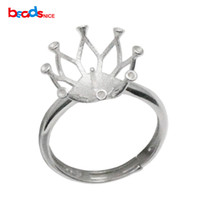 925 Sterling Silver Ring Setting for 13mm Round Beads Tamanho ajustável do anel Crown Silver Ring Base ID35763