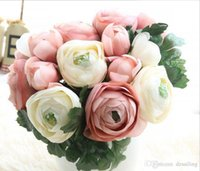 Wholesale Home Party Marketing - Raunculas rose flower bouquet 8 heads wedding bridal artificial silk decorative flowers for home wedding party market decoration 14694