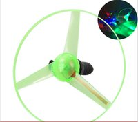 Wholesale Led Flying Disk - 25cm new Light up LED toys FRISBEE Flashing Flying Disk UFO Flying Saucer helicopter Pull String Toy