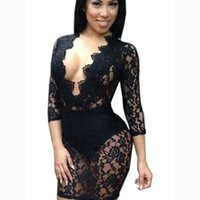 2017 Nuove donne di estate Sexy Sheer Bianco / Nero Lace S-XL Deep V Cut manica corta Midi Bodycon Dress Articolo NO WT32677