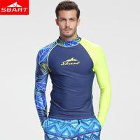 Wholesale men surfing shirt - SBART Summer Long Sleeve Sunscreen Swimwear Men Rashguard Surfing Diving Quick-drying Shirt Swim Wear UV Protection Rash Guards Bodysuit