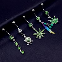 Wholesale Cheap Navel Piercing Jewelry - 5pcs 2017 mix style green pot leaf feather tortoise bead dangle navel belly bar button rings body piercing jewelry sets cheap