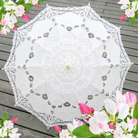 Wholesale Pagoda Wedding - Pagoda Cotton UmbrellasEmbroidery Bride Wedding Umbrella Lace Parasol Adult size Handmade Umbrellas Accessories for Weddings' Decorations