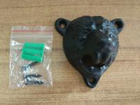 ingrosso antiquariato ghisa-Apribottiglie per birra con testa di orso in ghisa, antico apri-orso con viti e accessori per la casa