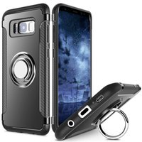 Wholesale Dual Layer Drop - Galaxy S8 Case Slim Fit Dual Layer Hybrid Armor Shock Absorption Rugged Defender with Ring Holder Kickstand Drop Protection Cover