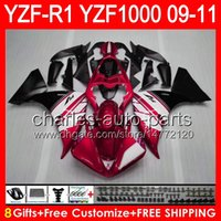 Wholesale yamaha yzf r1 fairings for sale - Group buy 8gifts Body For YAMAHA YZFR1 YZF R1 glossy red NO55 YZF YZF R YZF1000 YZF R1 TOP red black Fairing