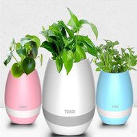 For Sharp blue chinese vases - New Creative Music Vase Smart Music Flowerpot Wireless Bluetooth Speaker K3 Intelligent Plant Piano Music with Colorful LED Night Light