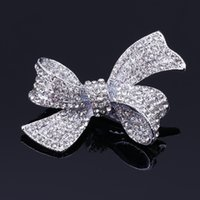 1 pcs bowknot plaqué argent bow strass prong Alligator barrette cheveux clip