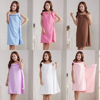 Wholesale Children Bath Robe Towel - Magic Bath Towels Lady Girls SPA Shower Towel Body Wrap Bath Robe Bathrobe Beach Dress Wearable Magic Towel 6 colors YYA215