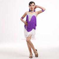 Wholesale Tassel Dance Dresses For Kids - Latin Dance Competition Costume For Girls High Quality Diamonds Latin Fringe Dress For Game 100% New Kids Latin Tassel Skirt