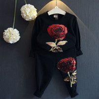Wholesale Sequin Clothing For Girls - Fashion Rose Flower Set For Baby Girl Boutique Clothes Spring Autumn Children Kid Embroidered Sequin Sweatshirt+Sport Pant 2PC Suit