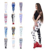 ingrosso leggings aztec-18 colori 2017 NUOVE donne Legging moda azteca rotonda stampa Ombre leggins Slim pantaloni a vita alta donna leggings