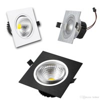 Wholesale Black Led Downlight - Square Dimmable Led Downlight 9w 12w 15w 20w COB Led Recessed Down Lights Silver White Black + Led Drivers