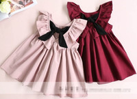Wholesale Kids Short Pleated Skirts - 2017 Hot Selling Girl's Deep V-neck Pleated Dress Bow Lotus Leaf Kids Clothes Dress High Quality Skirt D7208