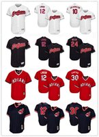 Wholesale Red Purple White - Embroidery 12 Francisco Lindor Cleveland Indians Baseball Jerseys 30 Joe Carter Edwin Encarnacion Andrew Miller Throwback Flex Base Jersey