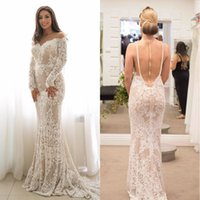 Wholesale Sexy Sweetheart Lace Stunning - Stunning Berta 2017 Wedding Dresses Long Sleeves Mermaid Guipure Lace Boho Bridal Dresses Vintage Pearls Back Custom Made Court Train