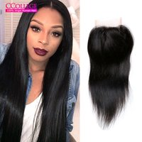 Ccollege Cabelo 8A Grade Encerramento da Malásia Direto 3 partes encerramento Straight And Cheap Hair 4X4 Malásia Silk Lace Closure On Sale