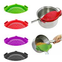 ingrosso vaso multifunzione-Silicone Funnel Strainer 9 Colori Multifunzione Pot Pan Bowl Cottura Wash Rice Colino Cucina Accessori Gadget Utensili da cucina
