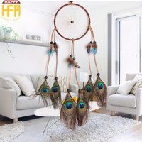 Wall Art Decor Wall Hangings Dream Catcher Fumigação Natural Peacock Enfeites de penas Decoração criativa para Home Wedding Car Decorators