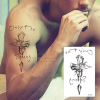 Wholesale Cross Tattoos Back - Wholesale- Temporary tattoos neck back cross 3D men arm shoulder fake spray transfer sexy tattoo stickers waterproof Beckham style QS-C007