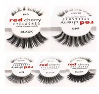 Wholesale red black hair extensions - New Fashion RED CHERRY False Eyelashes Natural Long Eye Lashes Extension Makeup Professional Faux Eyelash Winged Fake Lashes Wispies