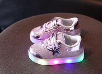 Wholesale European Buckle Boots - Children Shoes Children Girls LED Luminous Sneakers Kids Sports Shoes Girl PU Casual Boots for Spring Autumn European shoe size:21-30