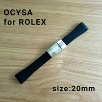 Wholesale Black Leather Tape - ocysa brand 20mm Adhesive tape Black belt watch band strap fit Rolex watches band