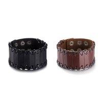 Wholesale Leather Wrist Cuff Rings - 2017 Retro Rock Punk Style Men   Ladies Wide Leather Bracelet Charm Braided Wrist Wide Cuffs Ladies Bracelet Fashion Jewelry
