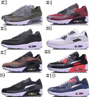 Wholesale Classic Woven - classic 90 Men and women Running Shoes Black Red White Racers Trainer Air Cushion Knitting Weaving Sports Shoes 36-45