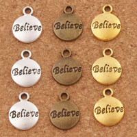 8Pcs Antiqued Silver Tone Round Hope Words Charms Pendants 11.5x15.5mm