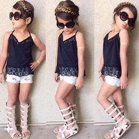 Wholesale Denim Shirts Lace - Girls INS sling Lace suits New Children summer sleeveless sling T-shirt + denim shorts 2 pieces set suit Baby kids clothing B001
